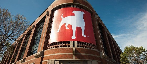 Zynga's San Francisco headquarters, with its pitbull logo displayed at the front of the building.
