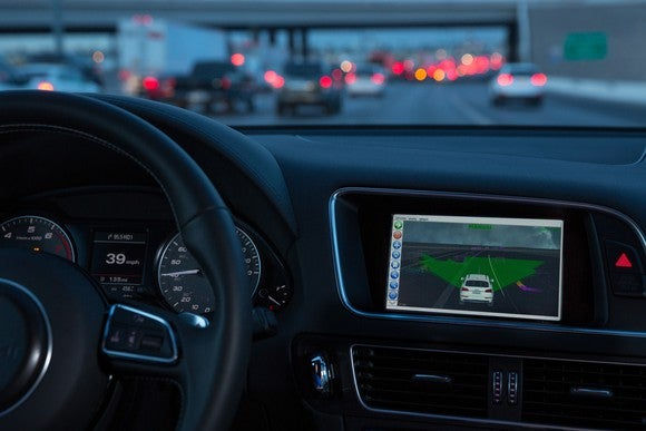 The dashboard of a driverless vehicle, including a touchscreen