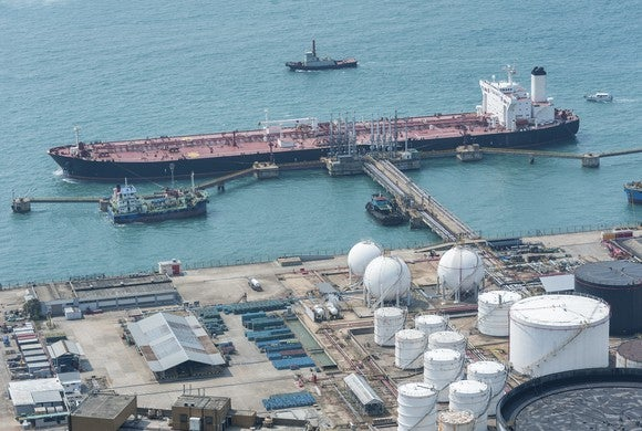 Aerial view of oil export terminal