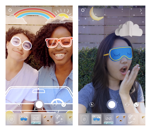 Left: Two girls with digital stickers overlaying sunglasses, a car, and a rainbow. Right: A girl with digital stickers putting a sleepmask on her and displaying a night sky.