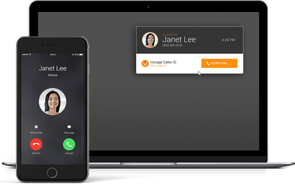 A Vonage incoming call displayed on a laptop and a smartphone.