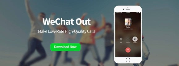 "Blurry photo of people jumping with smartphone in foreground with quote ""WeChat Out, Make low-rate high-quality calls -- download now."""