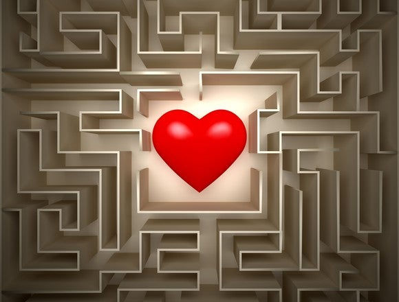 A big red heart in the middle of a maze