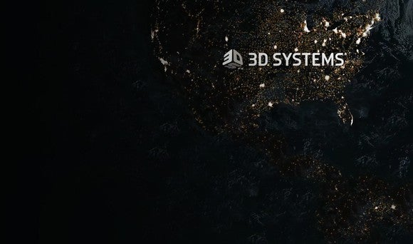 3D Systems logo on a night-time map of North America.
