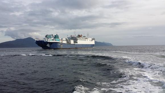 A ship repairing damaged fiber-optic cables.