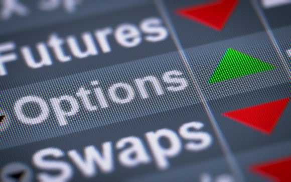 "Close up of computer trading screen focusing on the words ""Futures,"" ""Options,"" and ""Swaps."""