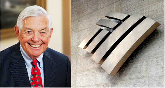 A picture of Hugh McColl, next to the Bank of America logo.