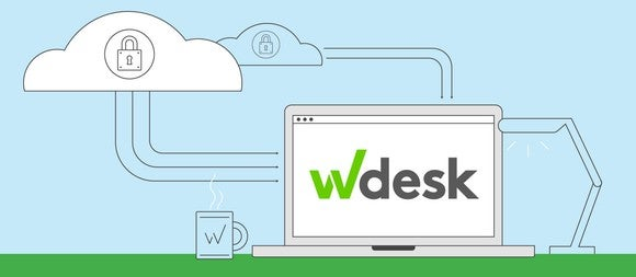 The Wdesk logo on a laptop, with lines indicating connections to the cloud.
