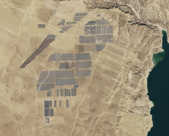 Satellite image of the Longyangxia Dam Solar Park from space.