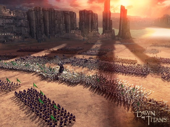 "A screenshot from Zynga's ""Dawn of Titans"" showing troops in a medieval, fantasy landscape."