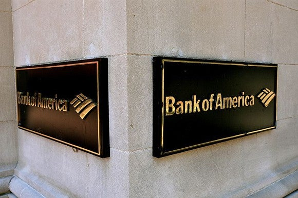 A Bank of America branch sign on a pillar.