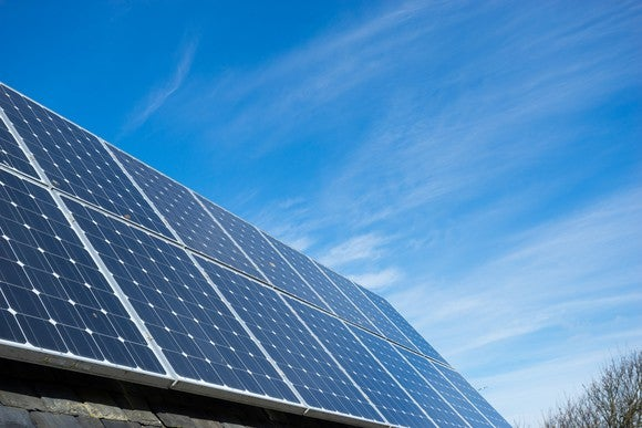 Large solar installation in a residential rooftop.