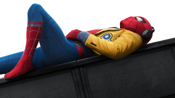"Spider-Man from ""Spider-Man: Homecoming"" lying down and listening to music."