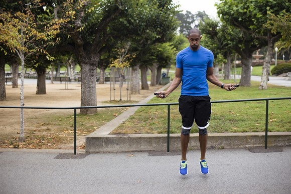 A man using a jump rope.