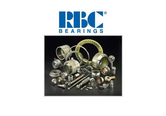 RBC logo with various bearings and components beneath it.