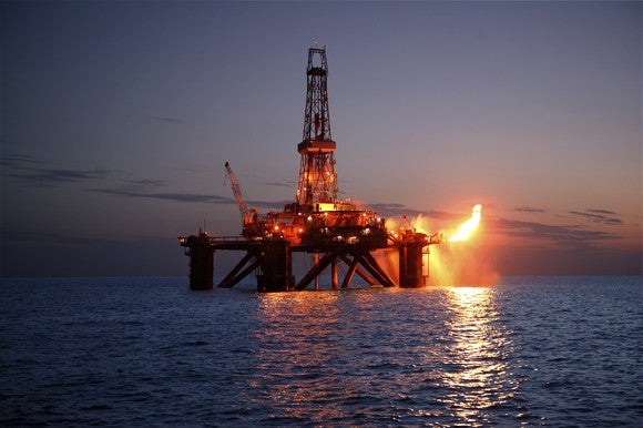 An offshore drilling rig flaring natural gas.