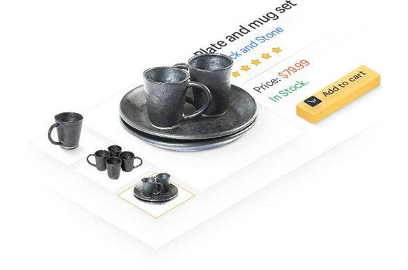 Plate and mug set sold through an Amazon third-party merchant