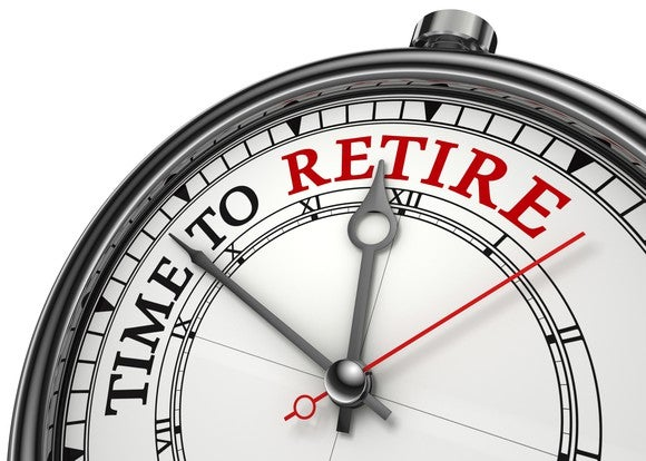 """clock face on which is written """"time to retire"""" and the hands are approaching the word retire, printed in red"""