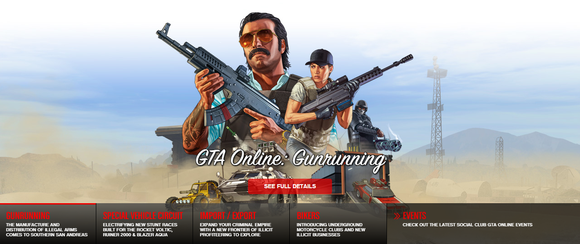 Grand Theft Auto Online screenshot with ominous characters with guns and fast cars.