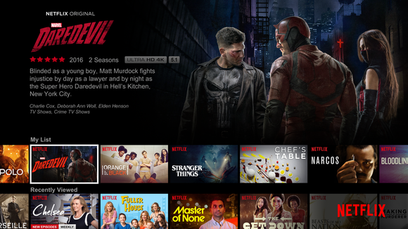 The Netflix home page showing artwork from several shows.