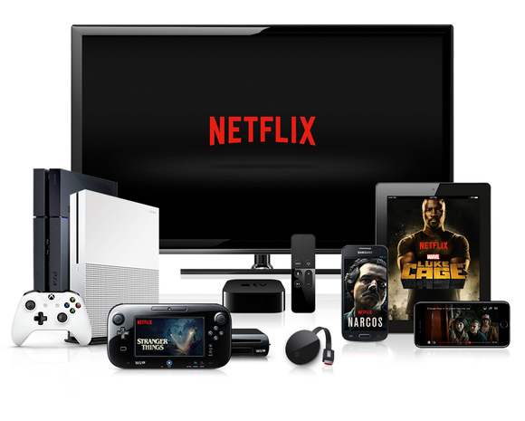 Various devices that support Netflix, including TV with a Netflix logo on screen, gaming consoles, and smartphones and tablets with Luke Cage on screen