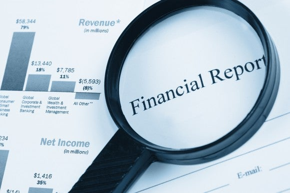 Magnifying glass highlighting financial report