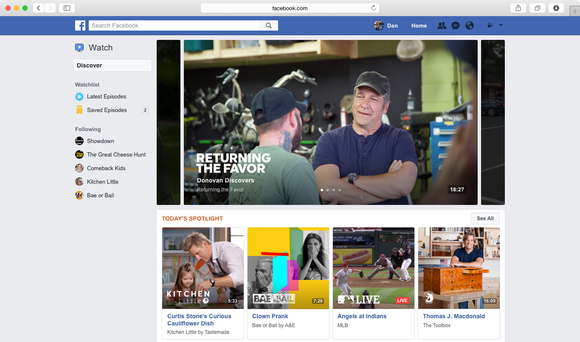 Interface for Facebook Watch on desktop