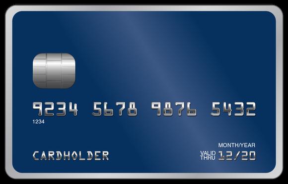 Blue unbranded credit card