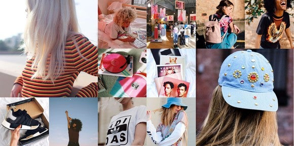 A collage of Urban Outfitters products, including shirts, hats, shoes, and other accessories
