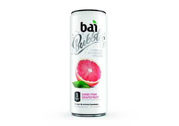 "Can of ""Bai Bubbles"" on white background."