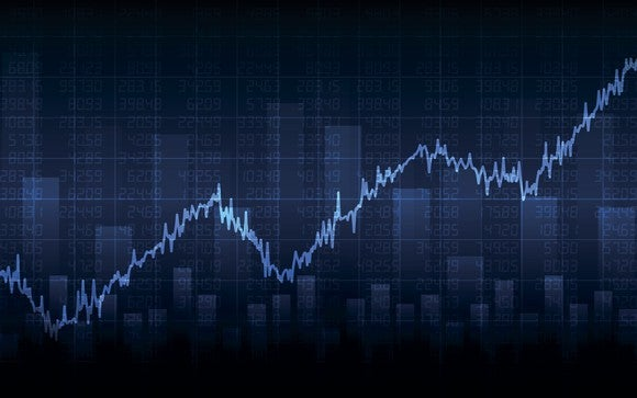 Dark blue background with stock market bar and line graphs