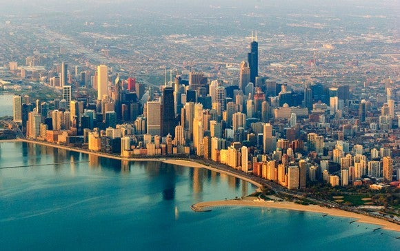Aerial view of Chicago and the coast of Lake Michigan