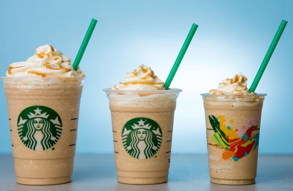 Three Starbucks Frappuccino beverages of varying sizes.