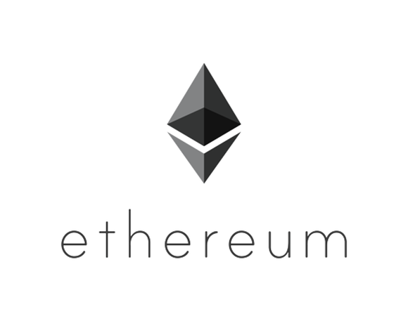 Ethereum logo, grayscale on a blank field.