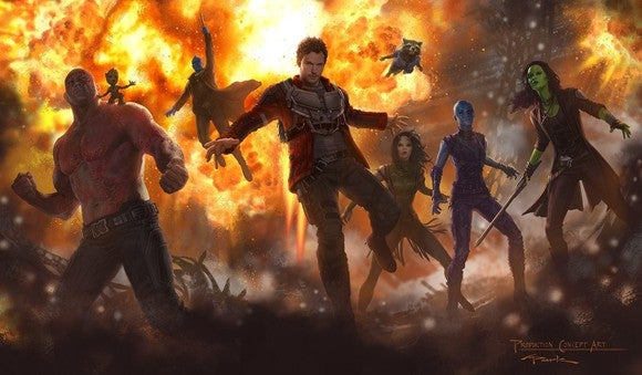 "Characters from ""Guardians of the Galaxy 2"" standing in front of an explosion."