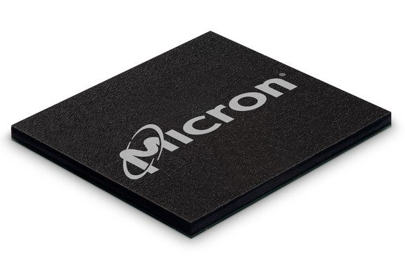 Micron logo stamped on a NAND memory chip.
