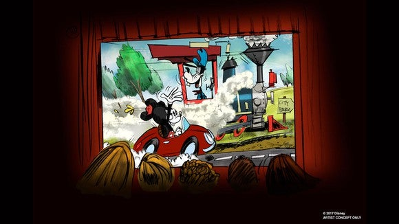 Artist concept of Mickey and Minnie's Runaway Railway ride.