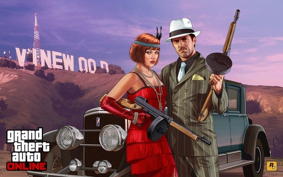 Grand Theft Auto game art depicting a man and woman dressed in 1920's attire holding machine guns.