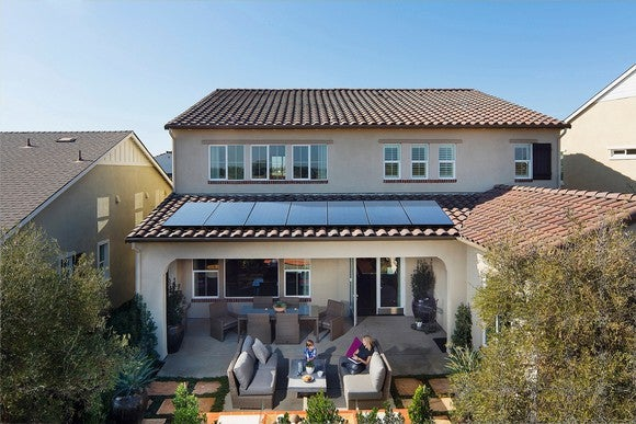 Front view of a home with SunPower solar panels on the roof