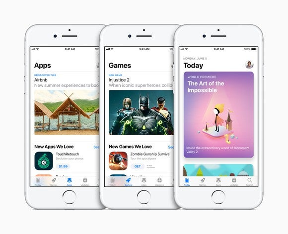 Three Apple iPhone models side-by-side displaying different portions of the Apple App Store.