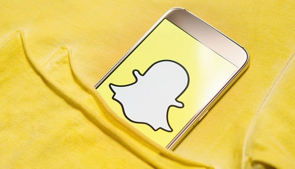 Phone running Snapchat inside a pocket
