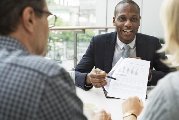 couple talking to financial advisor