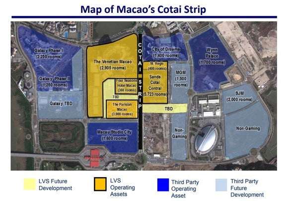 A map of Macau's Cotai Strip.