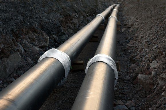 A pipeline in a ditch at a construction site.