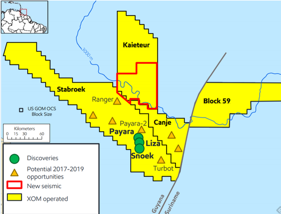 Exxonmobil's acreage off the coast of Guyana and Suriname. Map shows XOMs three discoveries cluttered in a group with several more opportunities elsewhere