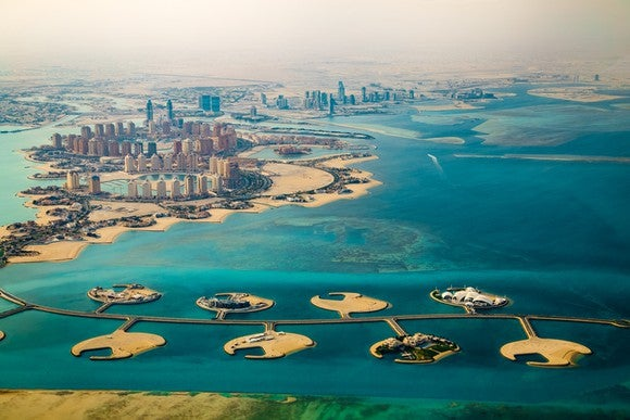 Aerial photo of Doha, Qatar's capital city.
