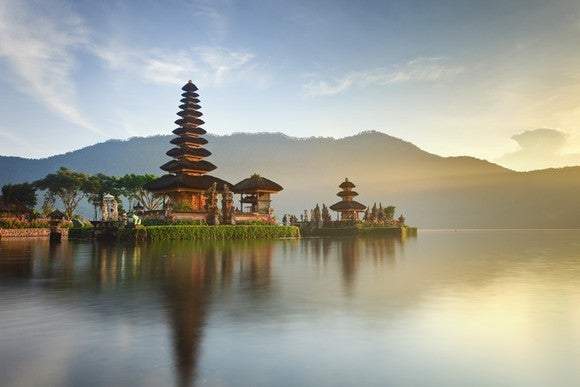 A temple overlooking water in Bali, Indonesia.
