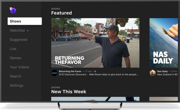 Screenshot of Facebook Watch, showing Featured shows.