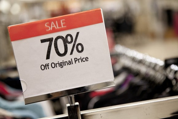 A 70% off sale sign on a department-store rack.