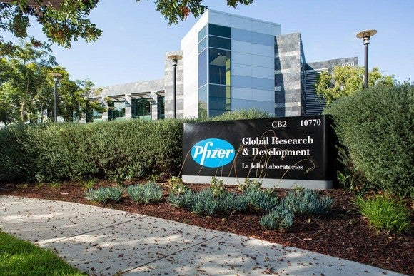 Pfizer's corporate headquarters on a bright, sunny day.